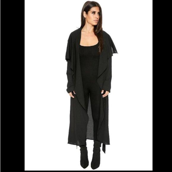 NWOT Naked Wardrobe Sheer Duster Coat Jacket black